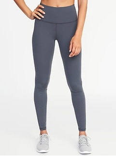 High-Rise 7/8-Length Laser-Cut Compression Leggings for Women