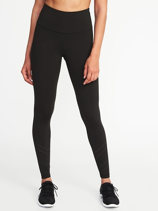 High Rise 7/8 Length Laser Cut Leggings For Women by Old Navy