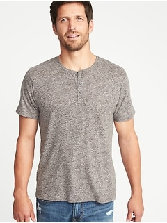 Linen-Blend Henley for Men