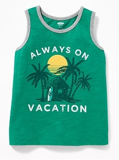 """Always On Vacation"" Tank for Toddler Boys"