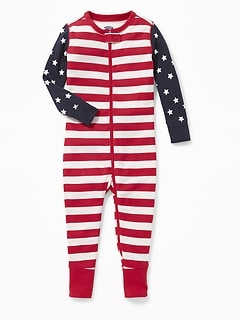 Flag-Print Jersey One-Piece Sleeper for Toddler & Baby