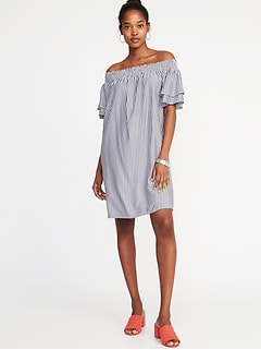 Off-the-Shoulder Smocked Shift Dress for Women