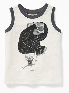 Gorilla & Monkey Graphic Tank for Toddler Boys
