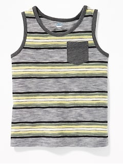Striped Slub-Knit Pocket Tank for Toddler Boys