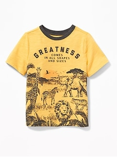 """Greatness Comes in All Shapes and Sizes"" Tee for Toddler Boys"