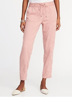 Mid-Rise Soft Utility Cropped Pants for Women