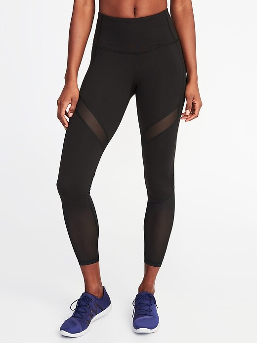 High-Rise Mesh-Trim 7/8-Length Elevate Compression Leggings for Women