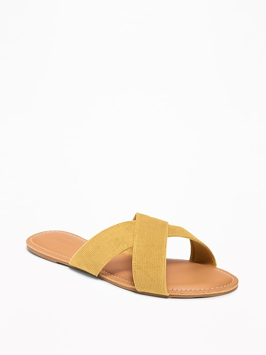 Corduroy Cross Strap Slide Sandals For Women by Old Navy
