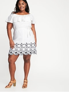 Off-the-Shoulder Plus-Size Cutwork Swing Dress