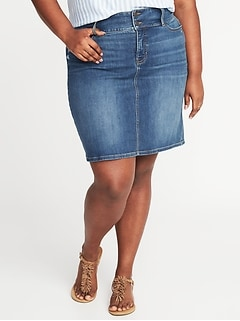 High-Rise Secret-Slim Pockets Plus-Size Denim Pencil Skirt
