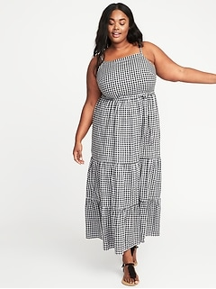 Tie-Belt Plus-Size Gingham Maxi Dress
