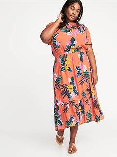 Waist-Defined Plus-Size Midi Dress