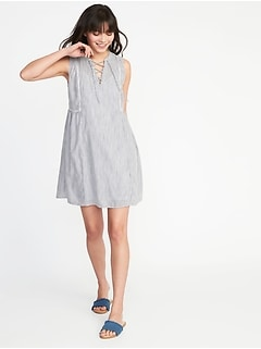 Sleeveless Lace-Up Swing Dress for Women