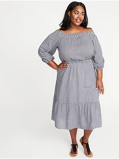 Waist-Defined Off-the-Shoulder Plus-Size Gingham Midi Dress