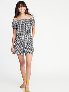 Off-the-Shoulder Gingham Romper for Women