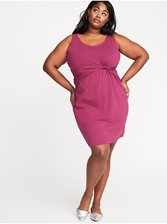 Plus-Size Sleeveless Twist-Front Bodycon Dress