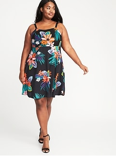 Plus-Size Fit & Flare Cami Dress