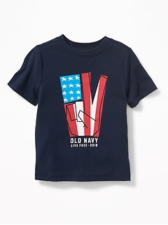 2018 Flag Peace-Sign Tee for Toddler Boys