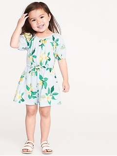 Floral Linen-Blend Romper for Toddler Girls
