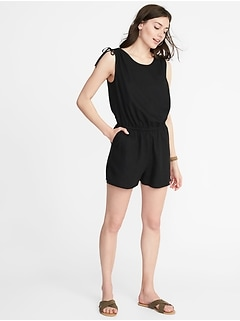 Waist-Defined Tie-Shoulder Romper for Women
