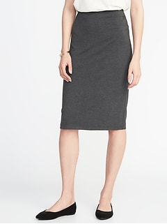 Fitted Jersey-Knit Pencil Skirt for Women