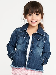 Raw-Hem Denim Chore Jacket for Toddler Girls