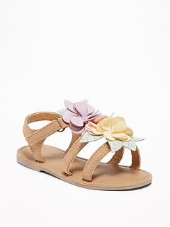 Flower-Applique Sandals for Toddler Girls