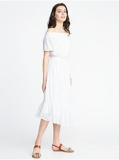 Waist-Defined Off-the-Shoulder Crinkle-Gauze Midi Dress for Women