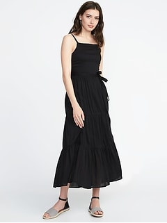 Tie-Belt Sleeveless Tiered Maxi Dress for Women