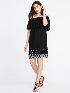 Off-the-Shoulder Cutwork-Hem Linen-Blend Shift Dress for Women