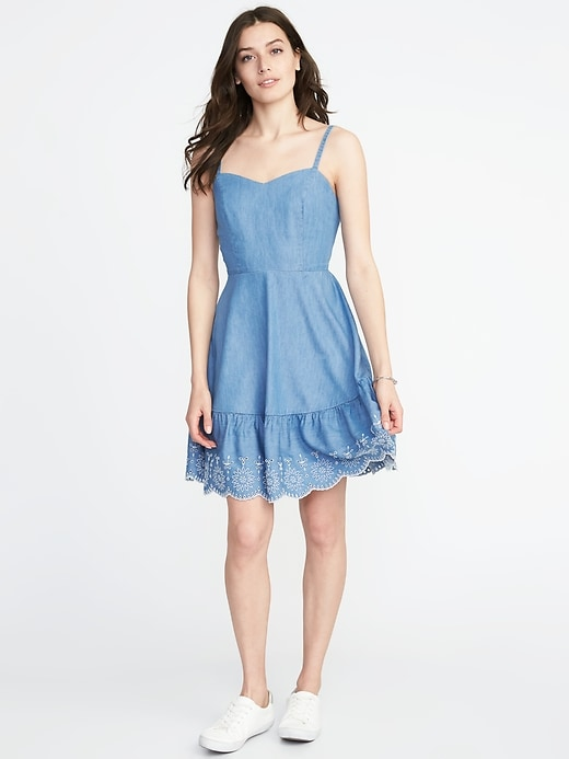 Fit &Amp; Flare Embroidered Hem Cami Dress For Women by Old Navy