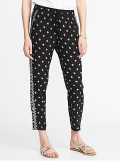 Mid-Rise Printed Soft Pants for Women