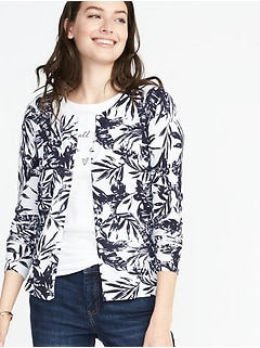Classic Printed Crew-Neck Cardi for Women