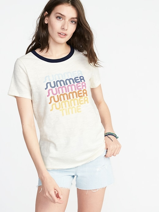 Every Wear Graphic Ringer Tee For Women by Old Navy