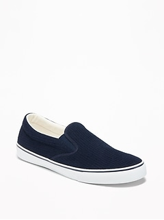 Canvas-Mesh Slip-Ons for Men