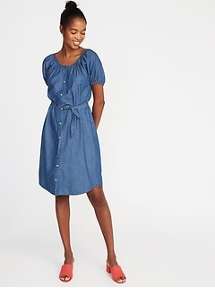 Tie-Waist Shirt Dress for Women