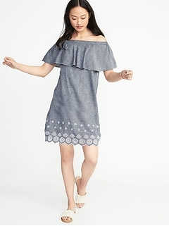 Off-the-Shoulder Linen-Blend Shift Dress for Women