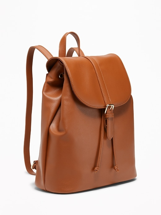 Women's Faux-Leather Cinched-Top Backpack