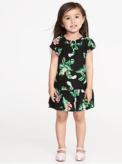Ruffled Floral-Print Dress for Toddler Girls