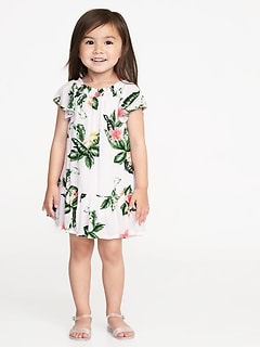 Ruffled Floral-Print Crepe Dress for Toddler Girls