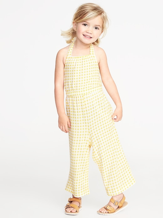 Gingham Halter Wide Leg Jumpsuit For Toddler Girls by Old Navy