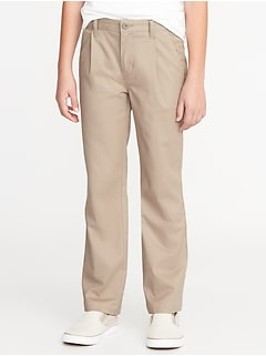 Stain-Resistant Uniform Pleated Straight Khakis for Boys