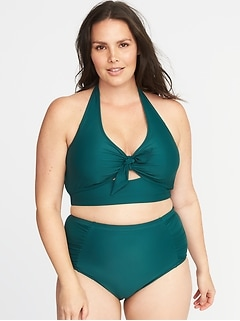 Plus-Size Long-Line Halter Swim Top