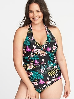Secret-Slim Plus-Size Halter Swimsuit