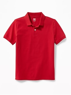 Stain-Resistant Uniform Pique Polo for Boys