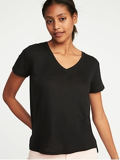 Linen-Blend Boyfriend V-Neck Tee for Women