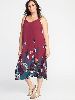 Sleeveless Plus-Size V-Neck A-Line Maxi Dress