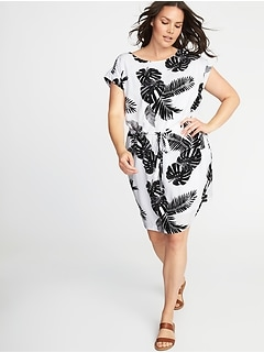 Waist-Defined Plus-Size Dress