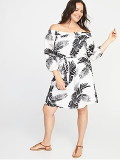 Plus-Size Printed Tie-Belt Shift Dress