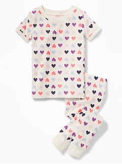 Heart-Print Sleep Set for Toddler & Baby